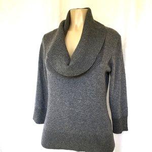 Trina Turk Sweater Knit Top Gray 3/4 Sleeve Cowl L
